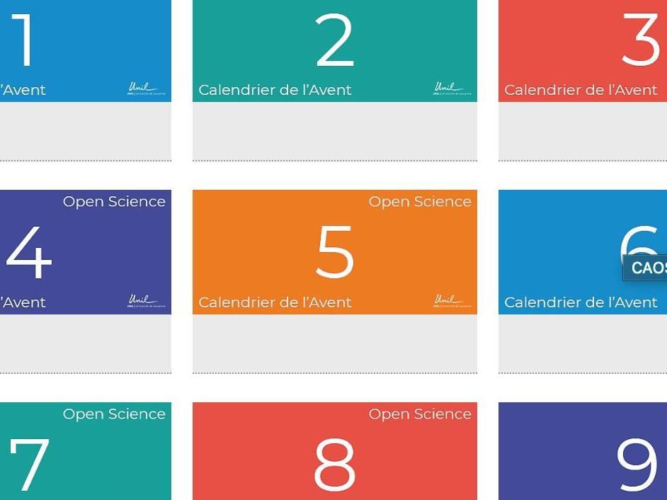 Calendrier de l'avent Open Science 2019