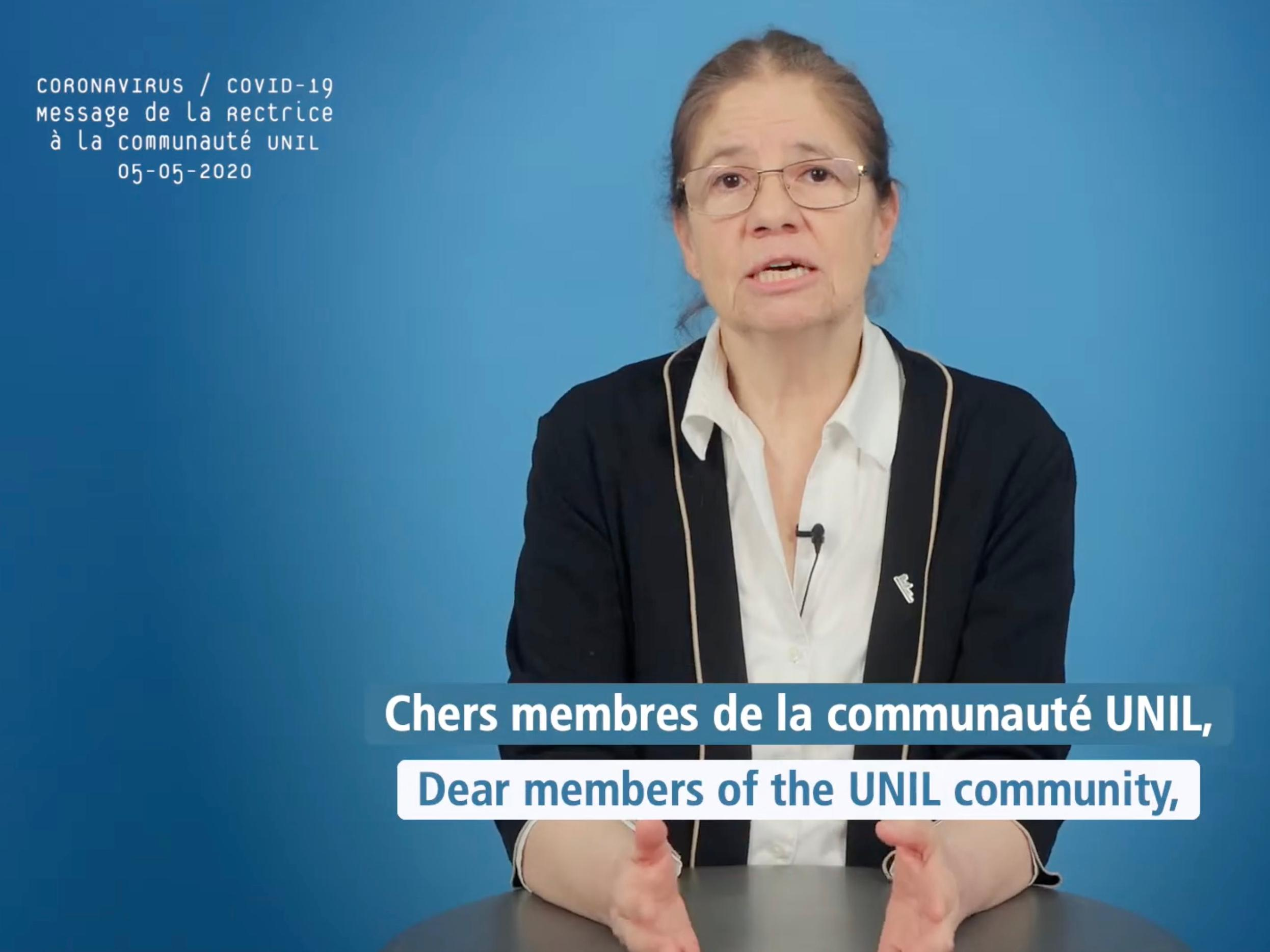 Message de la rectrice de l'UNIL, 5 mai 2020