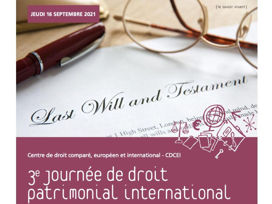 Report 16.09.21 I 3e Journée de droit patrimonial international
