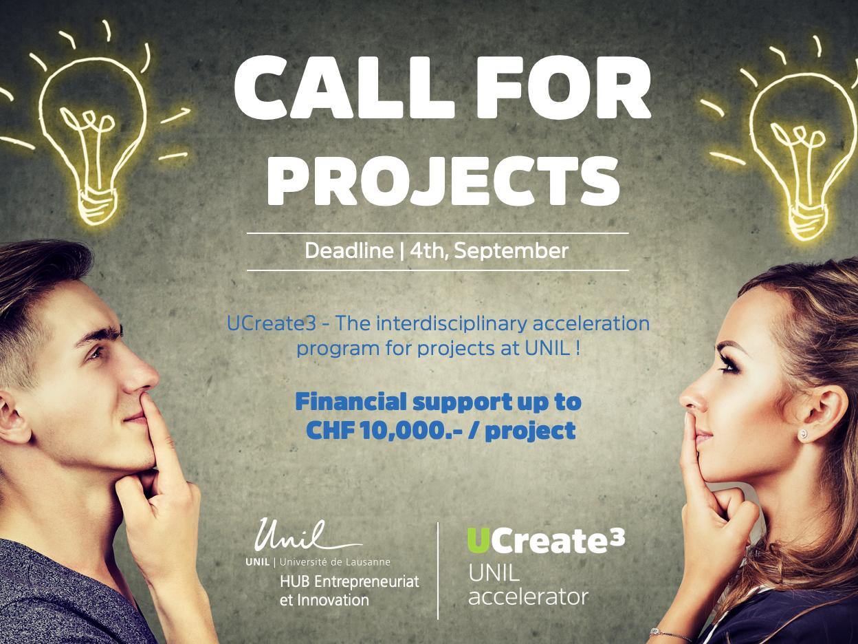 Call for projects UCreate3 - Do you want to turn your idea or research into reality?