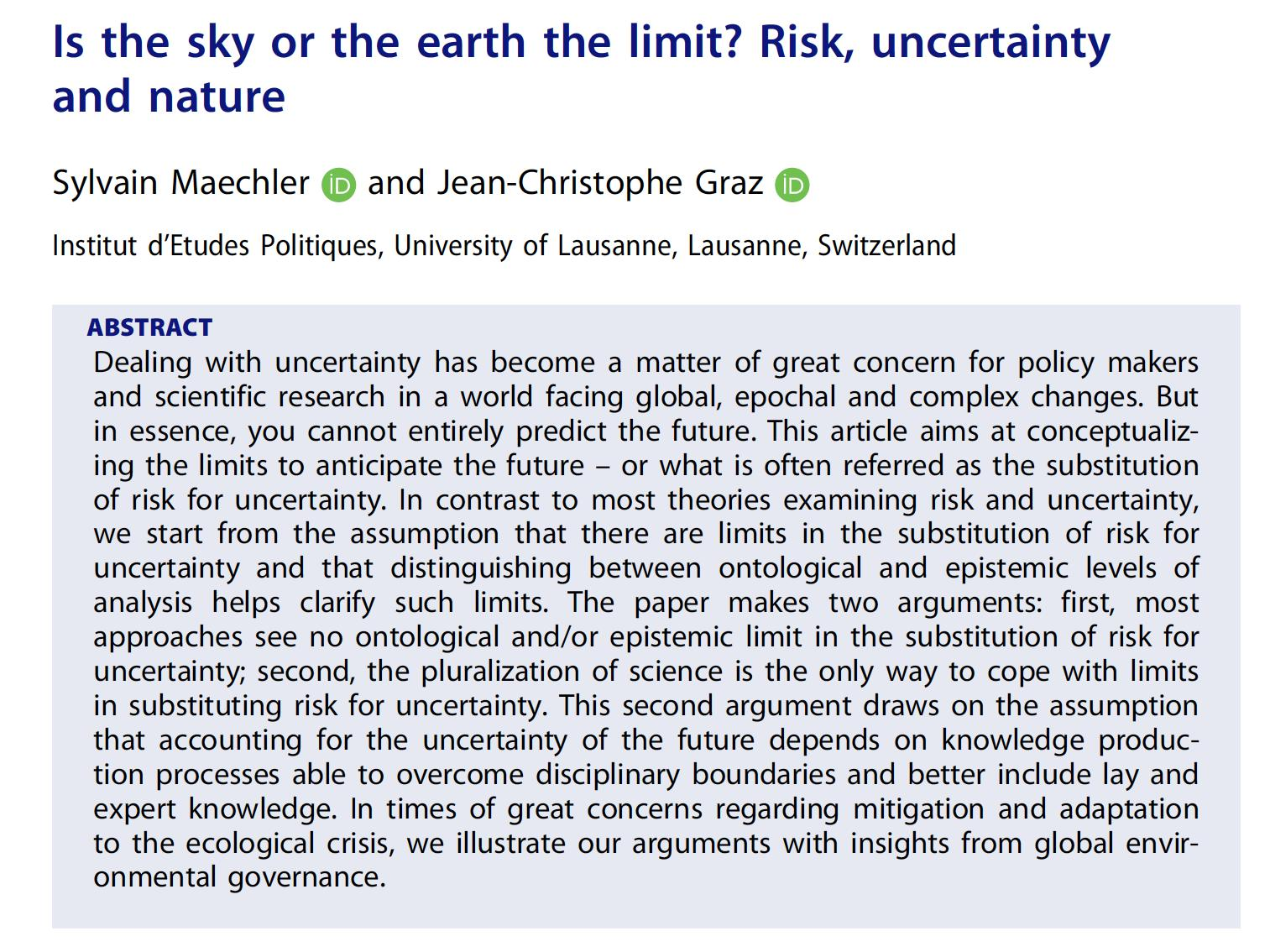 """Is the sky or the earth the limit? Risk, uncertainty and nature"""