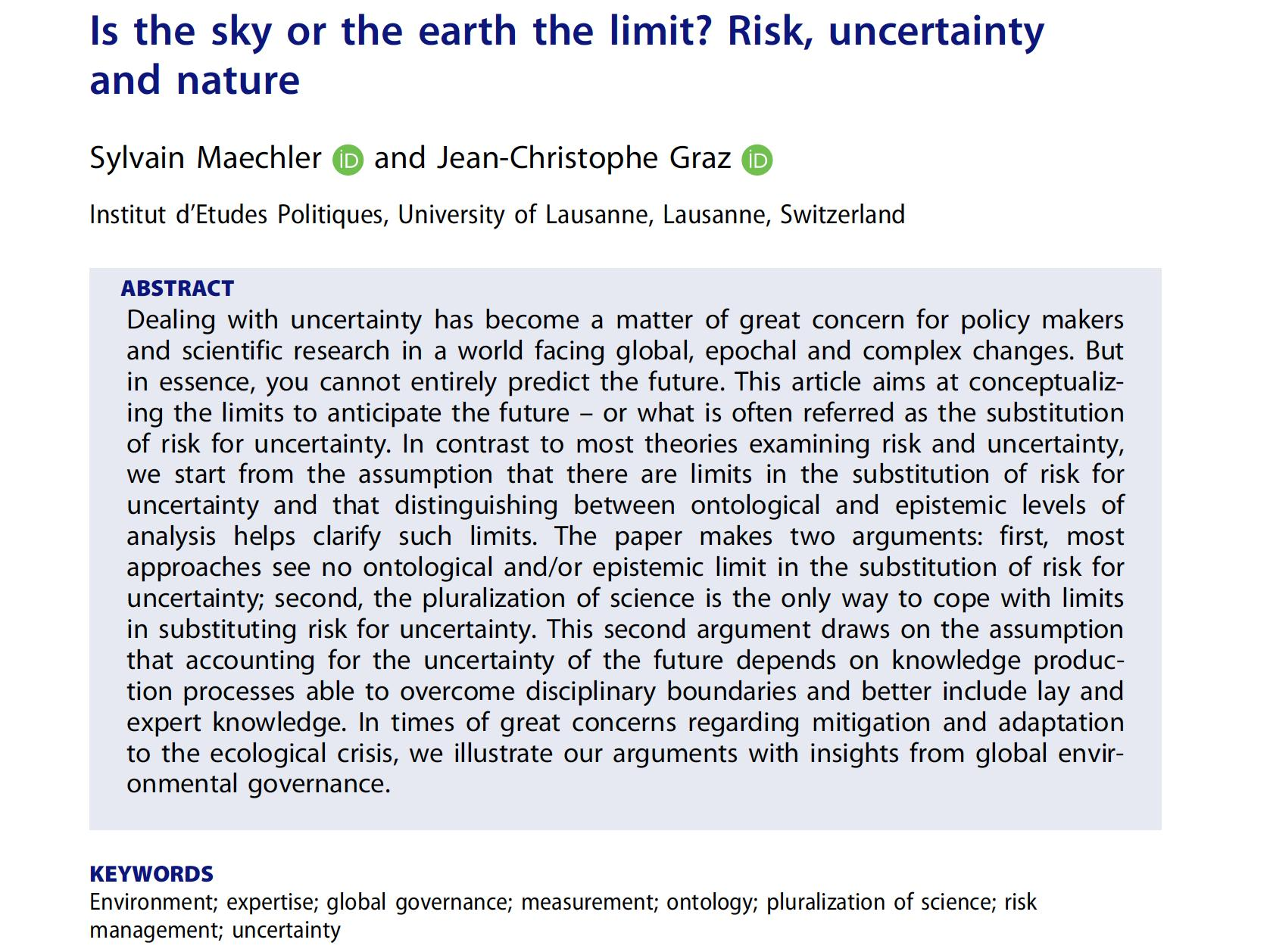 """""""Is the sky or the earth the limit? Risk, uncertainty and nature"""""""