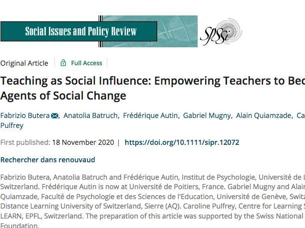 Teaching as Social Influence: Empowering Teachers to Become Agents of Social Change