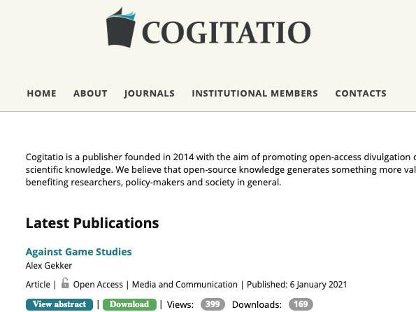 Publications Open Access chez Cogitatio en 2020