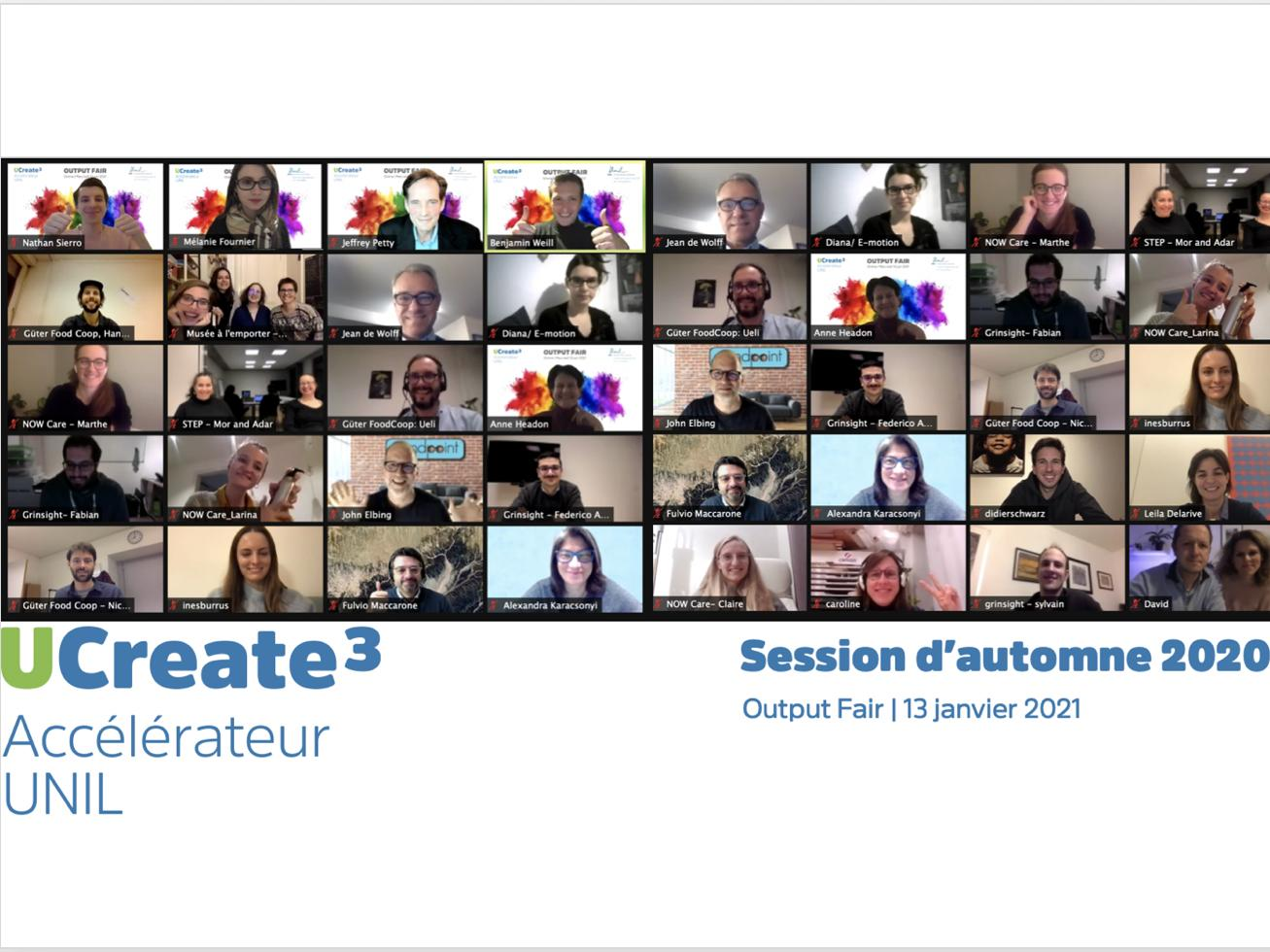 UCreate3 : end of the acceleration program for the fall 2020 session