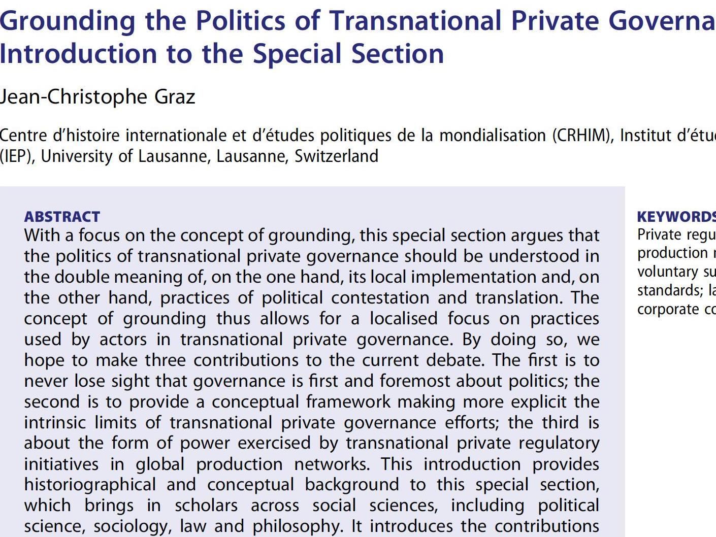 Grounding the Politics of Transnational Private Governance