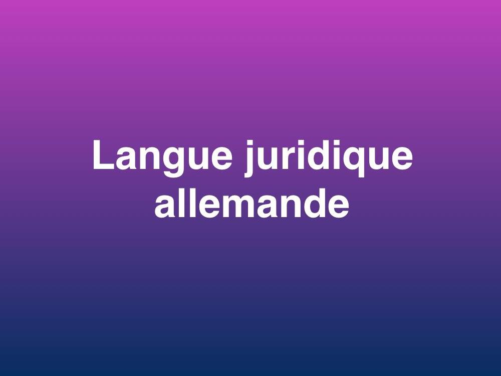 Tests de langue juridique allemande - Prof. Bettina Hummer