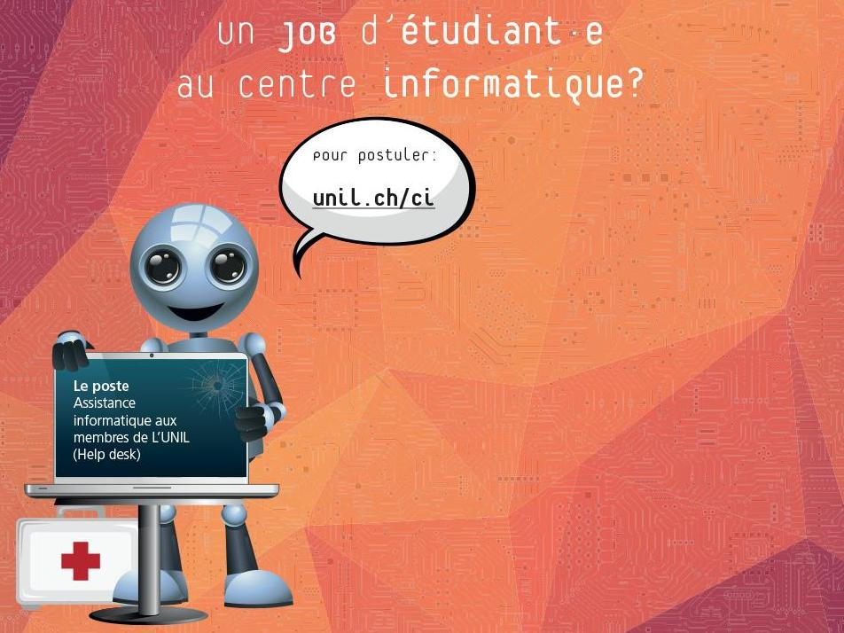 Un job d'étudiant·e au Centre informatique? le help desk recrute