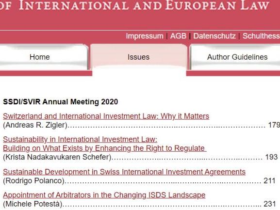 New Special Issue of the SRIEL: Switzerland and International Investment Law